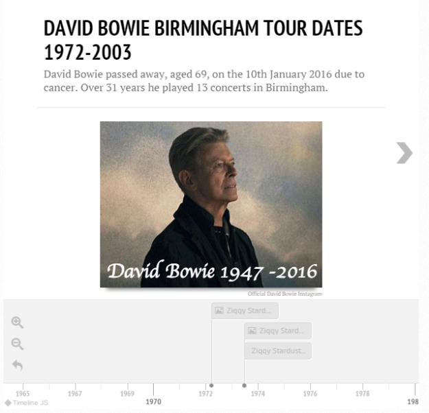 Timeline David Bowie touring Birmingham Birmingham Eastside