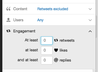 tweetdeck engagement filter