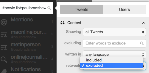 tweetdeck retweets excluded