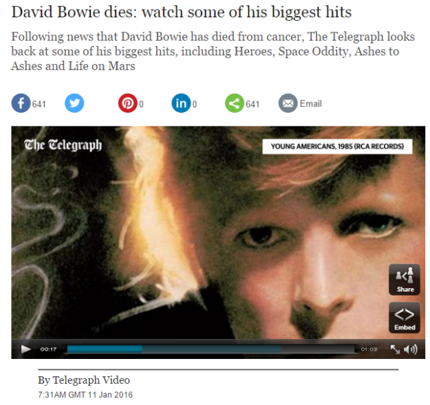 Video David Bowie dies watch some of his biggest hits Telegraph