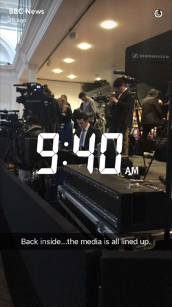 9:40 am: 'Back inside the media is all lined up'