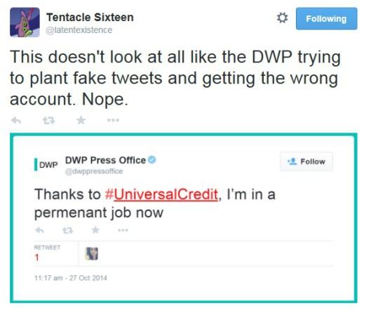 DWP fake tweet
