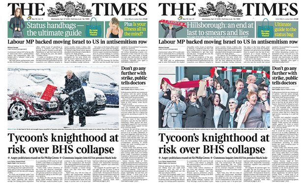 times front pages hillsborough