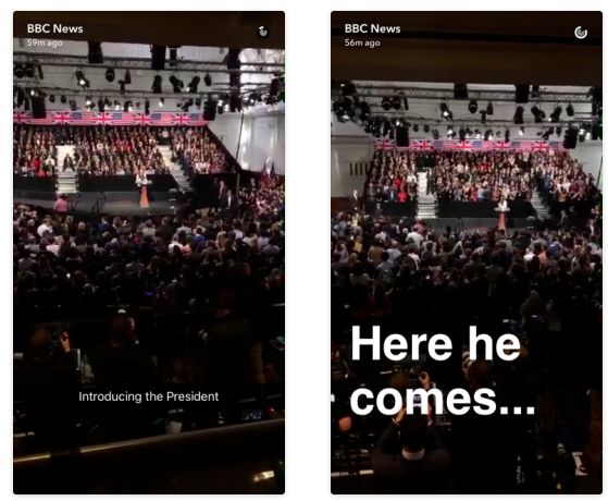 A Snapchat story by the BBC