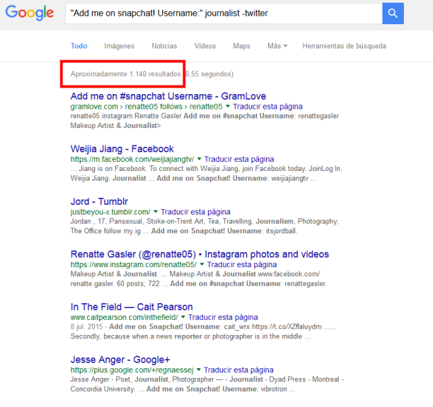 google search snapchat -twitter