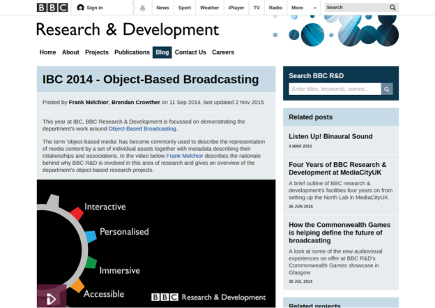BBC object based broadcasting