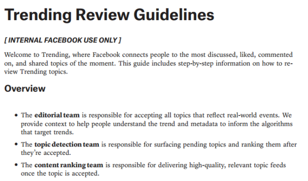 Facebook Trending Review Guidelines