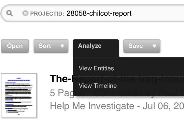 Analyze buttons: view entites or timeline