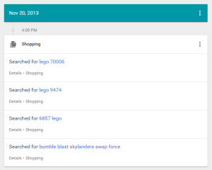 Google My Activity shopping results