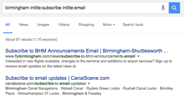 Search box: birmingham intitle:subscribe intitle:email