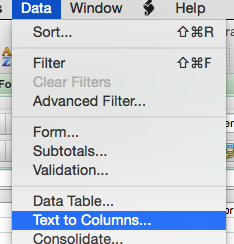 Text to columns menu