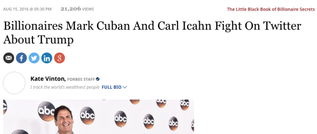 Billionaires Mark Cuban And Carl Icahn Fight On Twitter About Trump