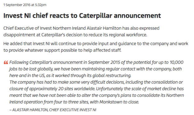 Invest NI chief reacts to Caterpillar announcement