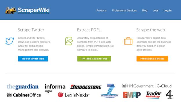 Scraperwiki homepage