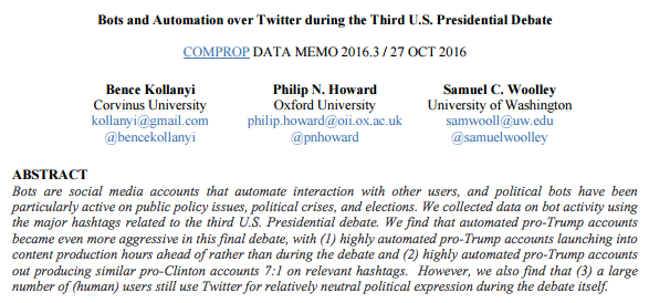 Bots and Automation over Twitter during the Third U.S. Presidential Debate