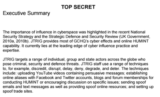 GCHQ JTRIG document outlining use of fake accounts