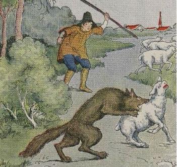 Boy who cried wolf illustration