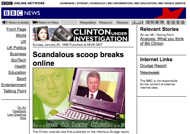 How the BBC website looked in 1998 when it reported on Drudge