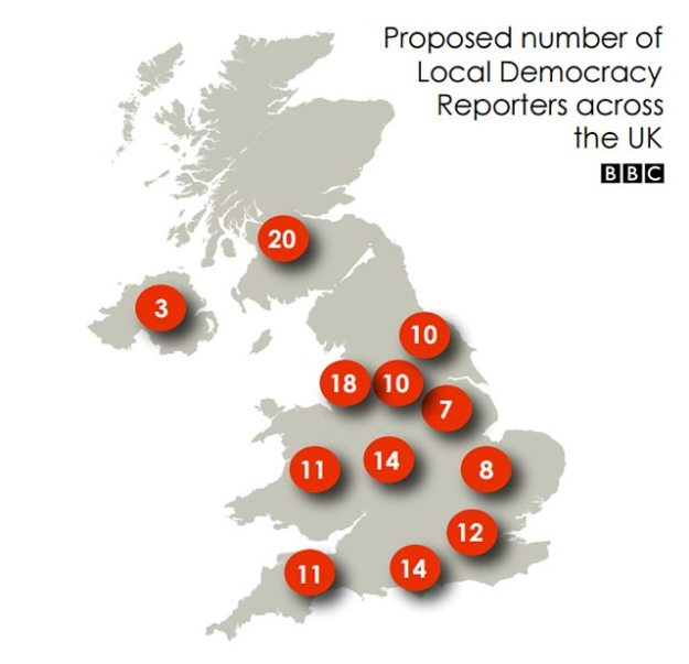 Map of BBC local democracy reporters