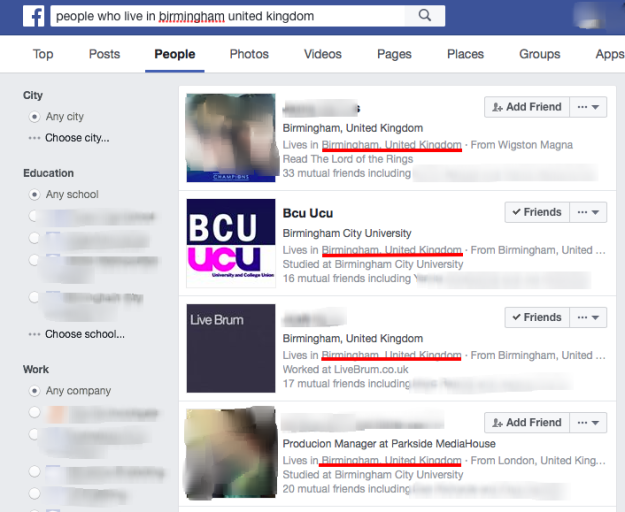 facebook graph search for birmingham