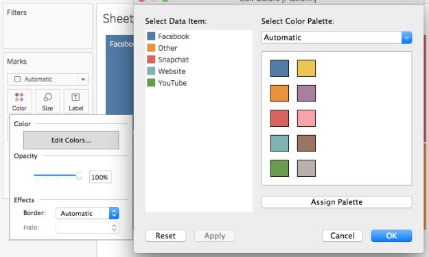 Edit colors menu