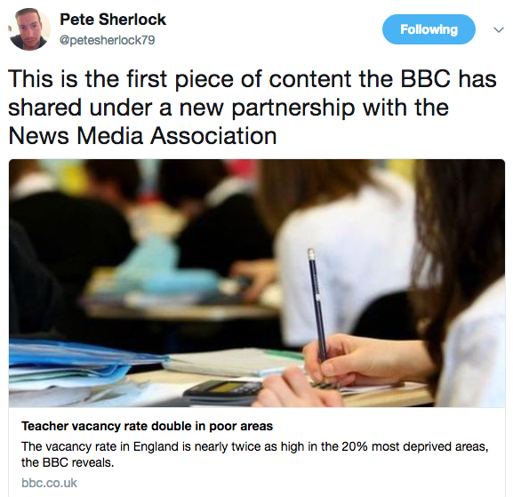 Pete Sherlock on Twitter This is the first piece of content the BBC has shared under a new partnership with the News Media Association