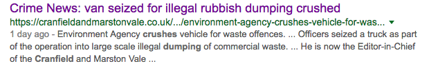 Crime News: van seized for illegal rubbish dumping crushed