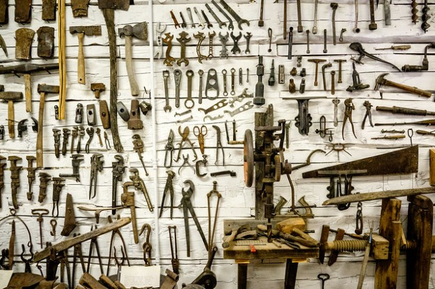 tools on a shed wall