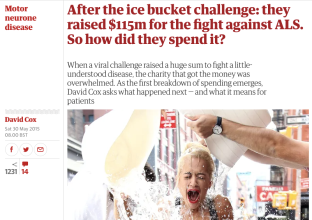 After the ice bucket challenge: they raised $115m for the fight against ALS. So how did they spend it?
