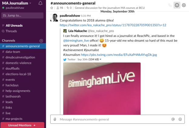 Slack screengrab showing channels on left
