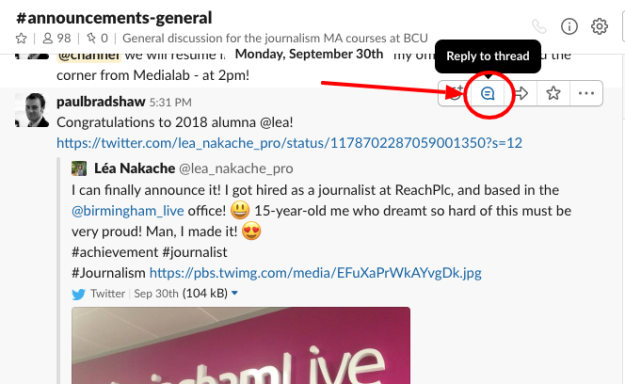 A Slack update with the threads button circled