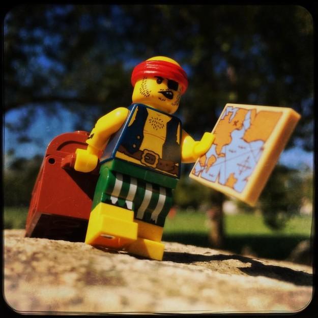 Lego man burying treasure