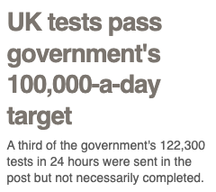 UK tests pass government's 100,000 a day target