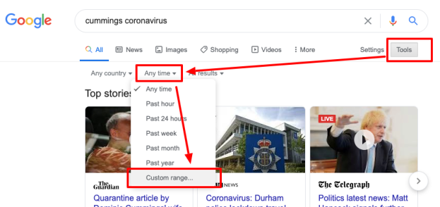Google search bar with Tools clicked and Any time selected