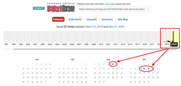 Wayback Machine view for Cummings website