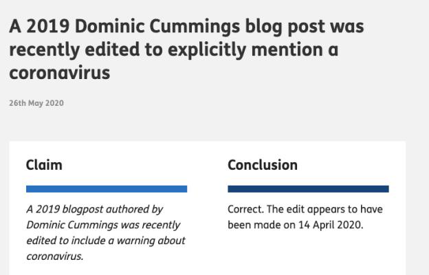 Cummings factcheck