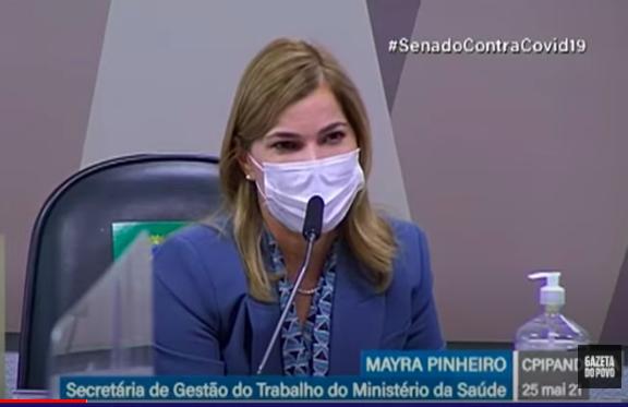 Mayra Pinheiro fala à CPI da Covid