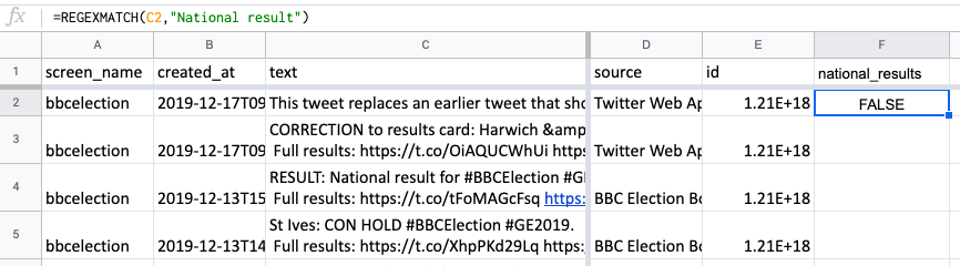 Screenshot of Google Sheets